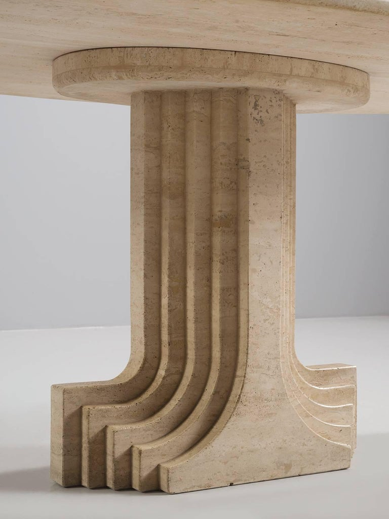 Late 20th Century Carlo Scarpa Dining Table in Travertine For Sale