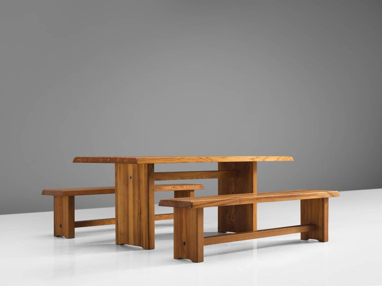Pierre Chapo, dining table model T14D and benches model S14D, solid elmwood, by France, 1960s. 