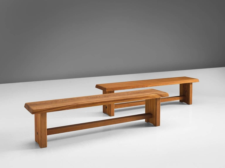 Pierre Chapo Elm Table with Benches For Sale 2