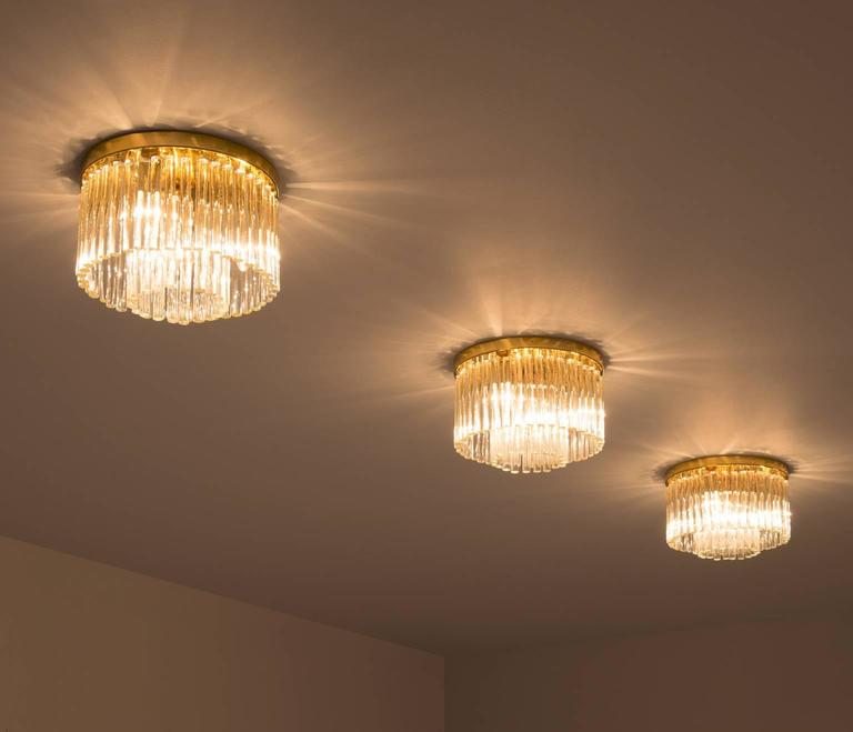 Mid-Century Modern Set of Three Glass and Brass Ceiling Lights