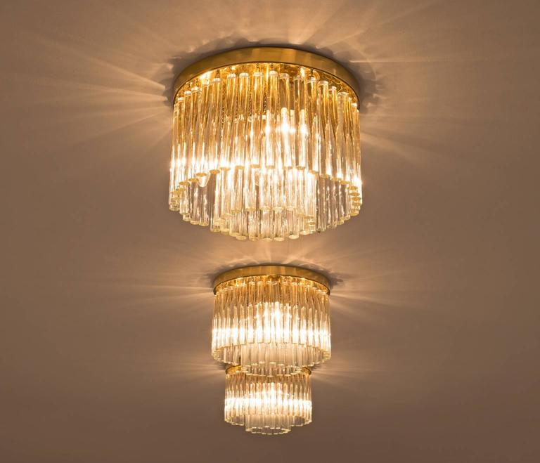 Italian Set of Three Glass and Brass Ceiling Lights