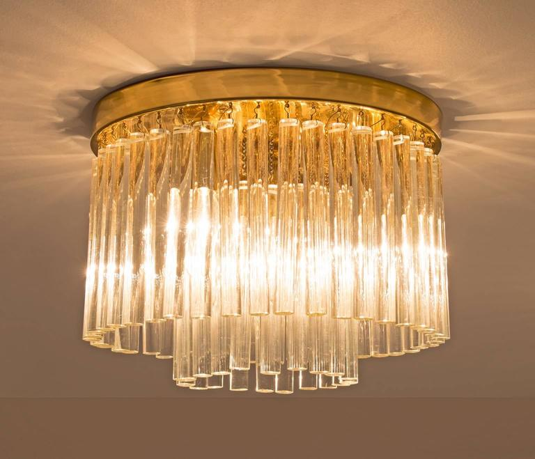Set of Three Glass and Brass Ceiling Lights In Good Condition In Waalwijk, NL