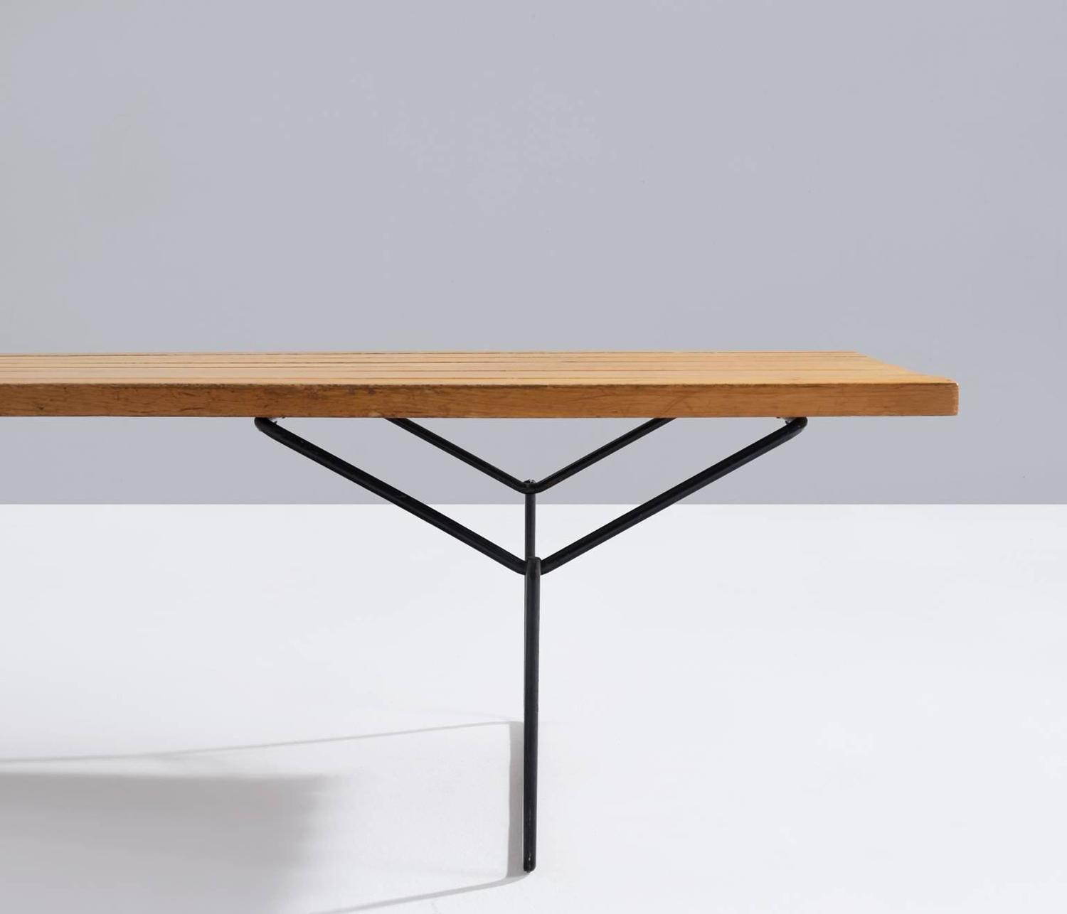 Early harry bertoia slat bench for knoll signed at 1stdibs - Bertoia coffee table ...