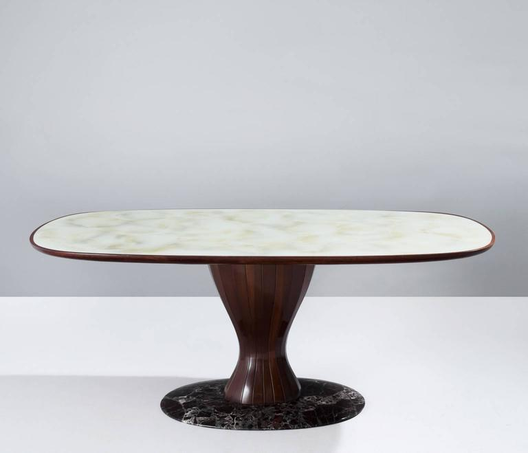 Italian Pedestal Dining Table In Wood Marble And Glass For Sale At - Mid century pedestal dining table