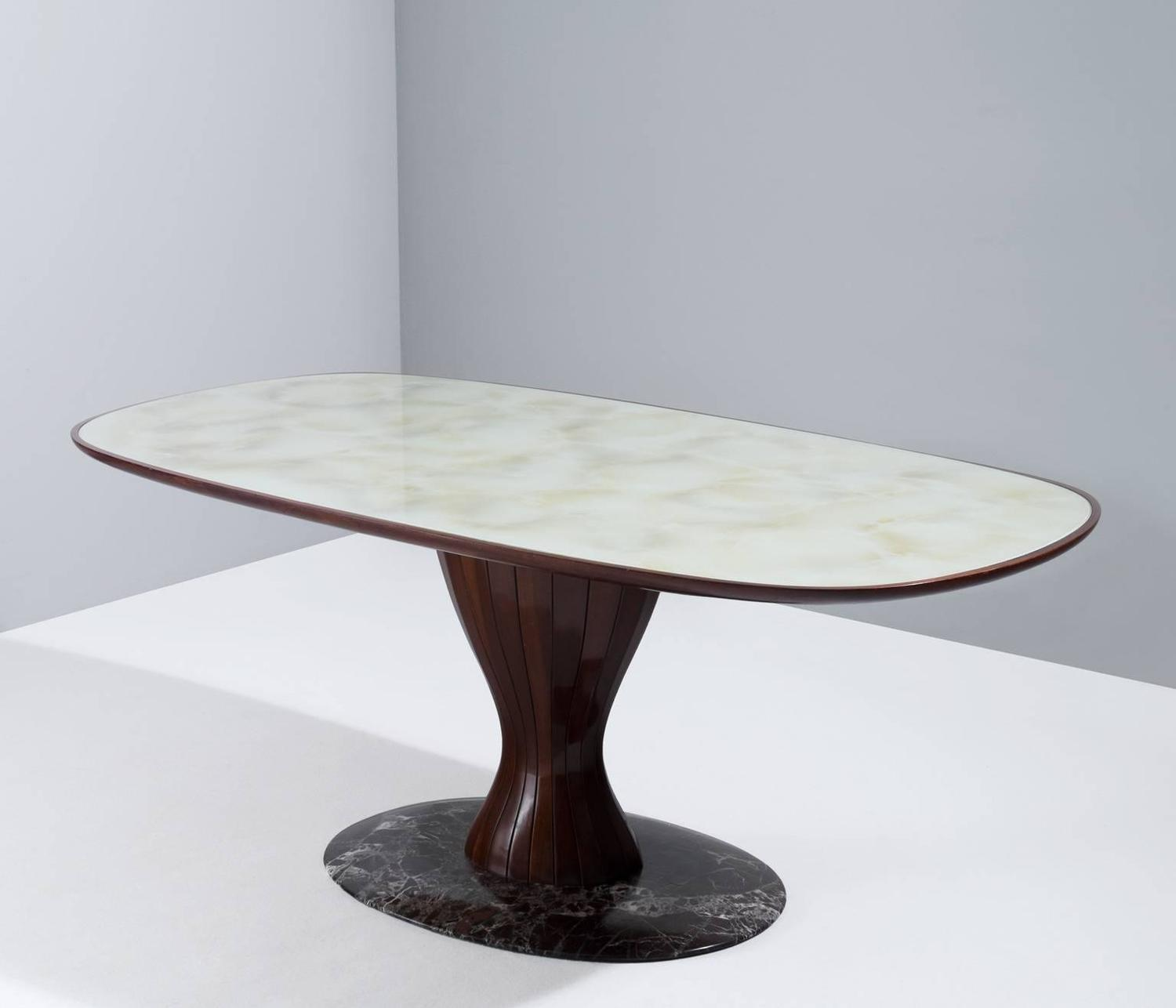 Italian Pedestal Dining Table In Wood Marble And Glass For Sale At