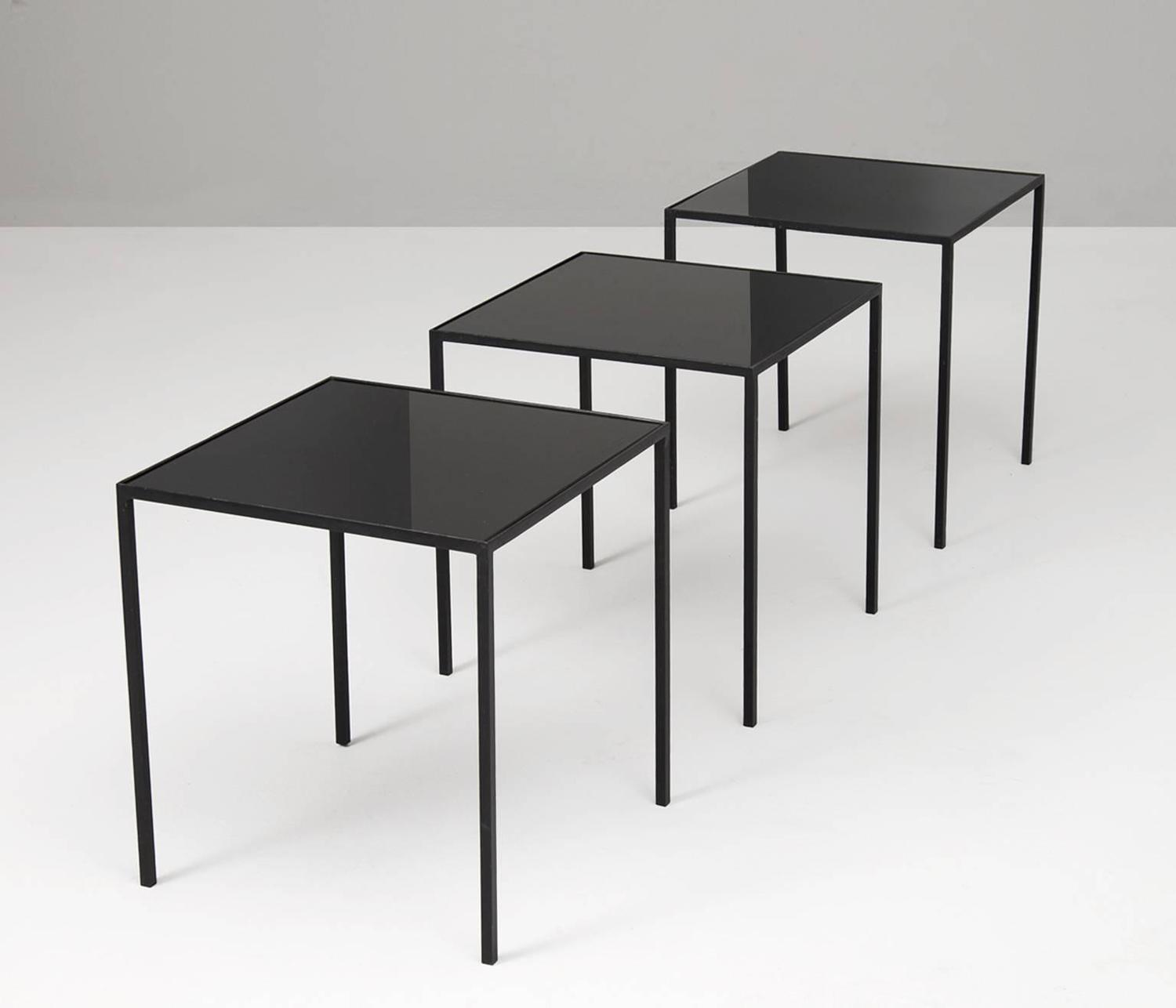 set of three small black metal glass coffee tables at 1stdibs. Black Bedroom Furniture Sets. Home Design Ideas
