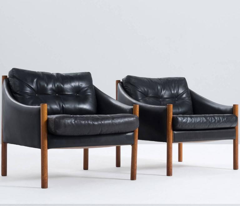 easy chair in black leather and solid teak for sale at 1stdibs