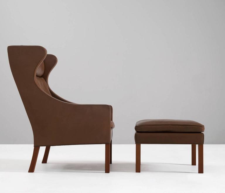 Mid Century Modern Børge Mogensen Brown Leather Wingback Chair, Denmark,  1960s For Sale