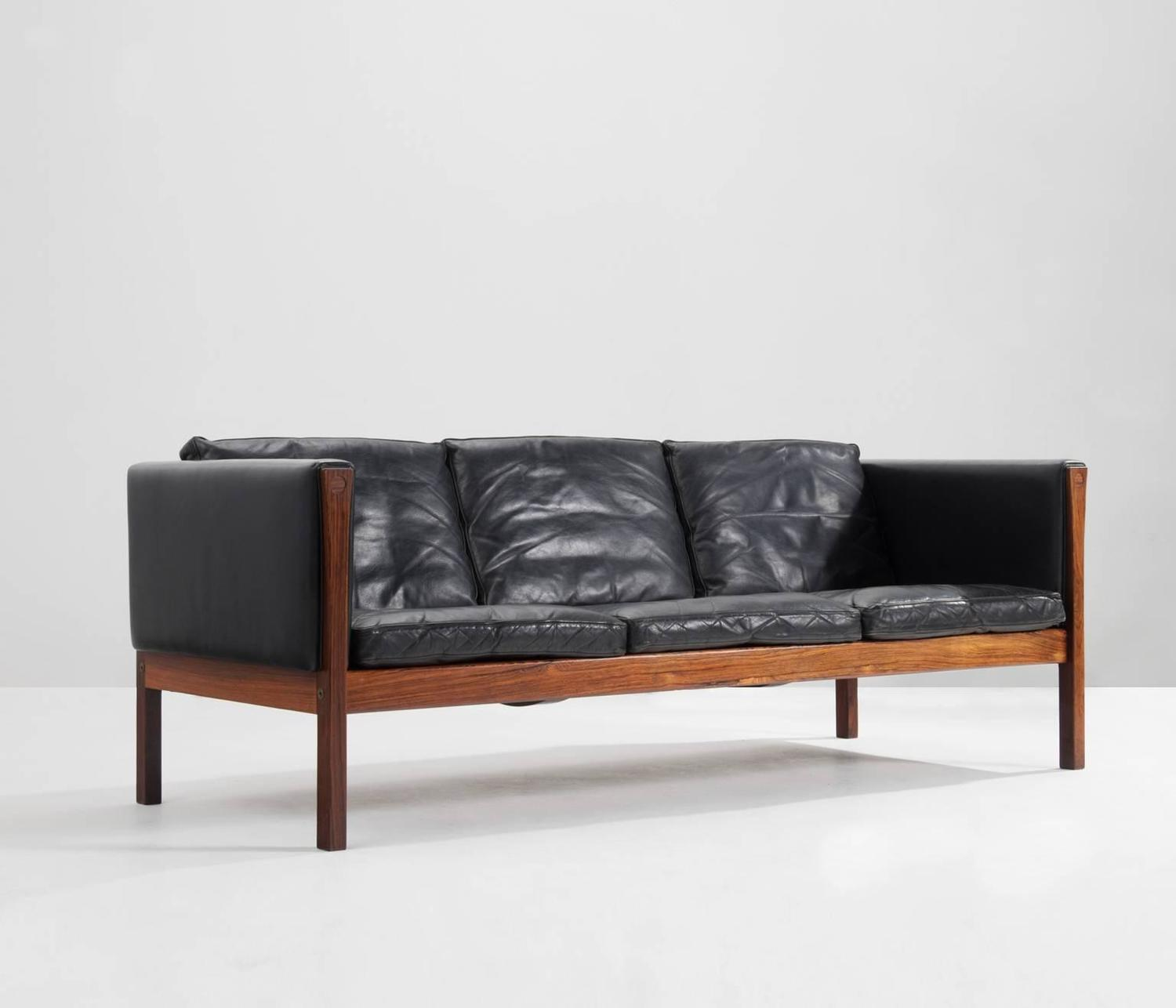 Hans Wegner ThreeSeater Sofa AP62 in Black Leather and Rosewood