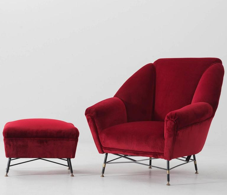 Charmant Lounge Chair And Footstool, In Fabric And Metal, Italy 1950s. Lounge Chair,