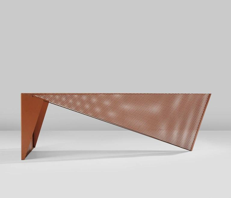 Metal Square Coffee Table With Glass Top And Triangular: Triangular Perforated Metal Coffee Table For Sale At 1stdibs