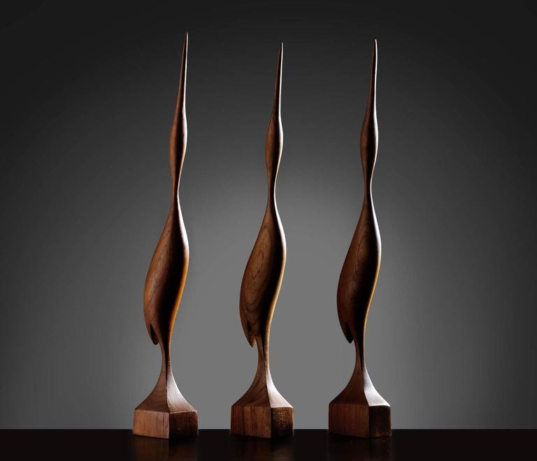 Set of Three Elegant Birds in Solid Teak, Denmark, 1960s 2