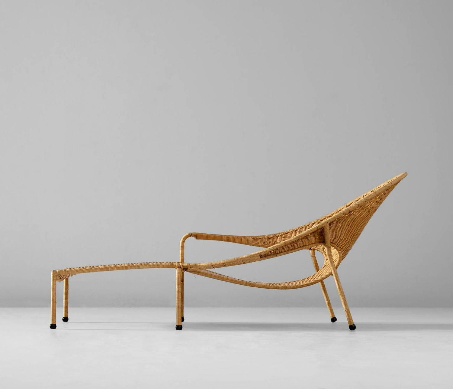 Francis mair wicker chaise longue california us 1960s for Chaise longue sale