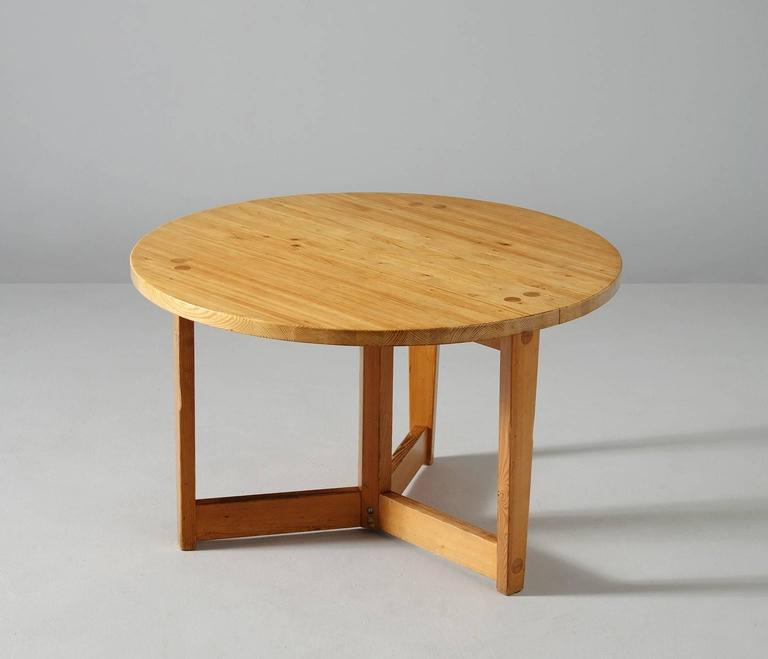 round dining table by jacob kielland brandt in solid pinewood for sale
