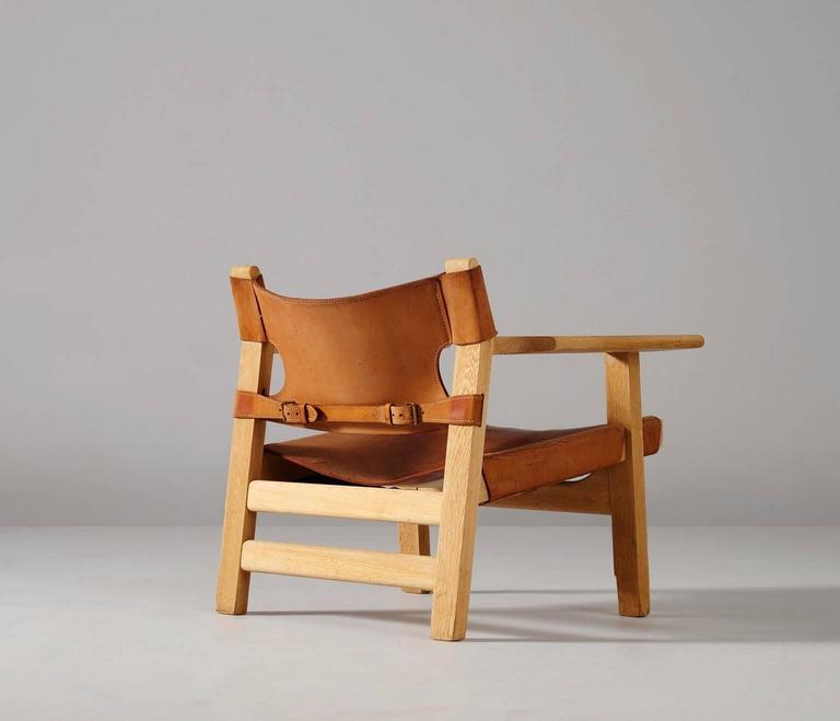 børge mogensen spanish chair in solid oak and cognac leather for