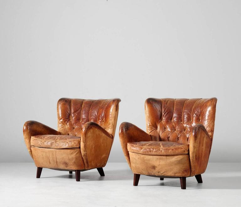 Mid-Century Modern Lounge Chairs in Original Cognac Leather Upholstery, 1930s