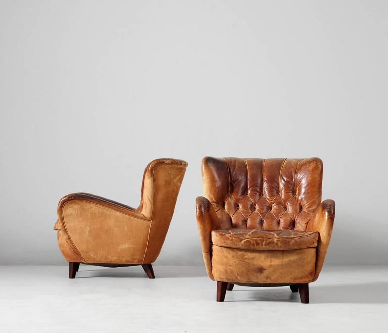 Really nice patinated brown cognac leather set of lounge chairs, Europe, 1940s.