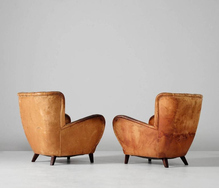 European Lounge Chairs in Original Cognac Leather Upholstery, 1930s