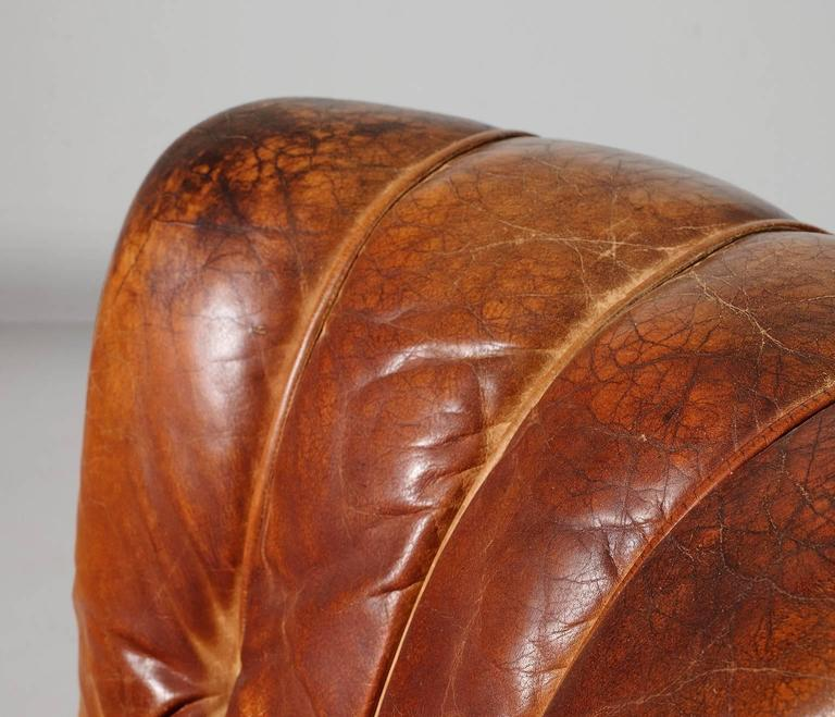 Mid-20th Century Lounge Chairs in Original Cognac Leather Upholstery, 1930s