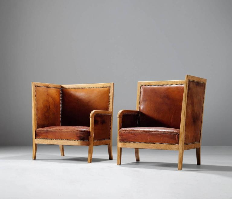 Scandinavian Pair of High Back Chairs in Cognac Leather For Sale