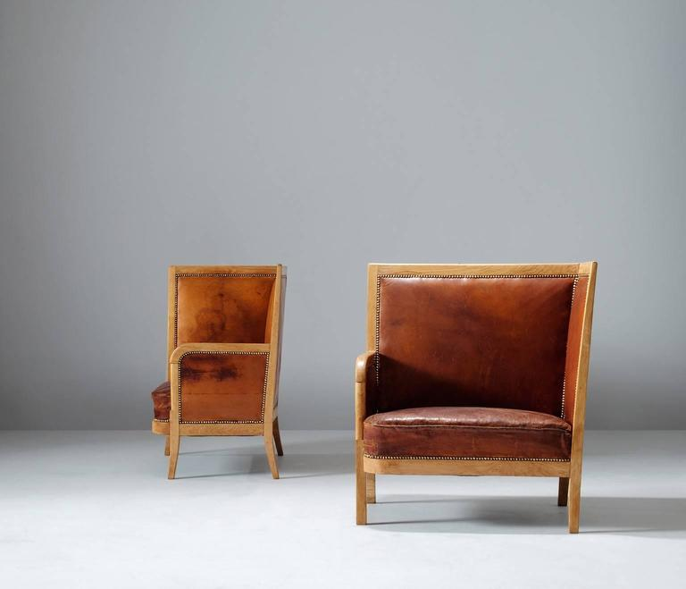 Pair of High Back Chairs in Cognac Leather 2