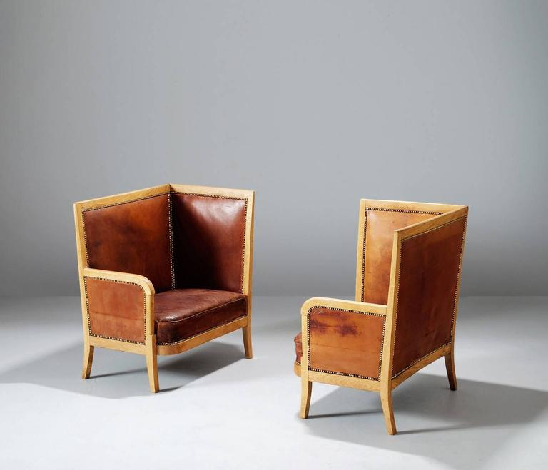 Mid-Century Modern Pair of High Back Chairs in Cognac Leather For Sale