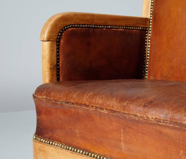 Pair of High Back Chairs in Cognac Leather 7