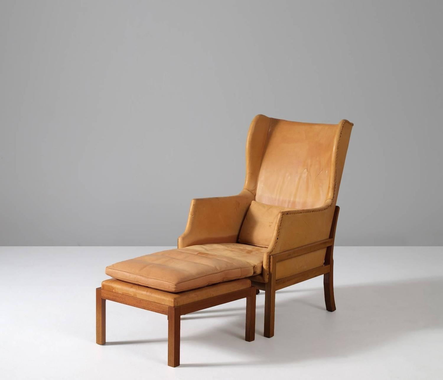Mogens Koch Wingback Chair And Ottoman At 1stdibs