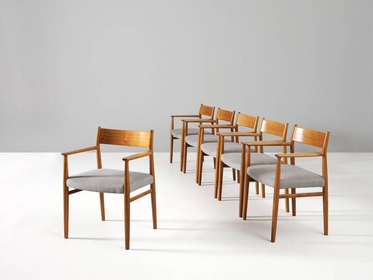 Scandinavian Modern Arne Vodder Set of Six Dining Chairs in Walnut