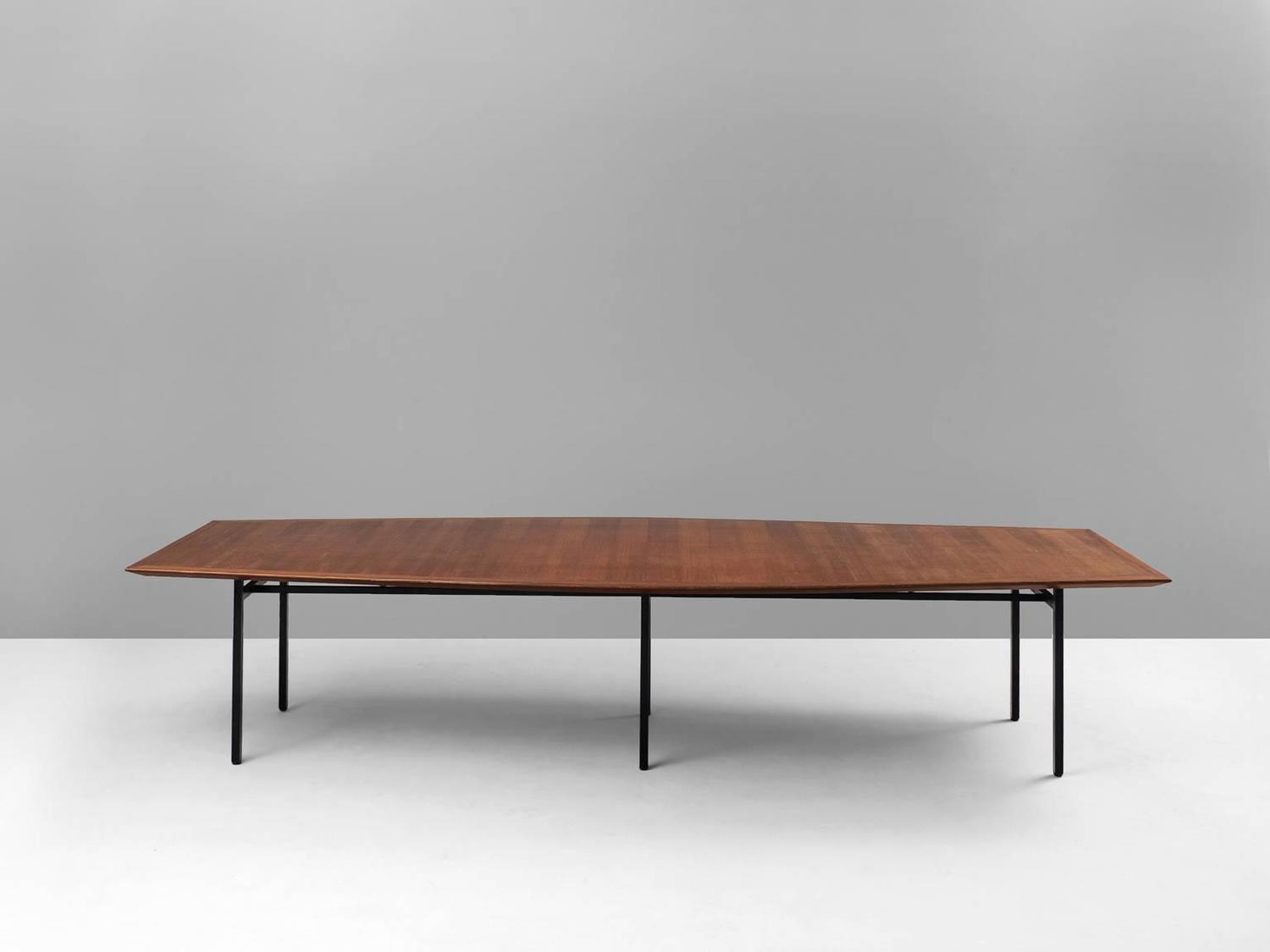 table model 580 in mahogany and metal by florence knoll for knoll