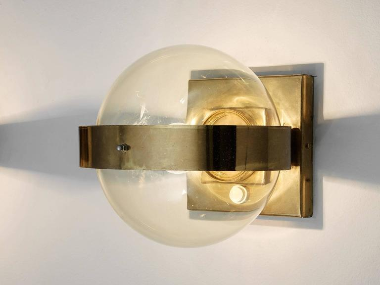Set of 2 Wall Lights in Brass and Glass 5