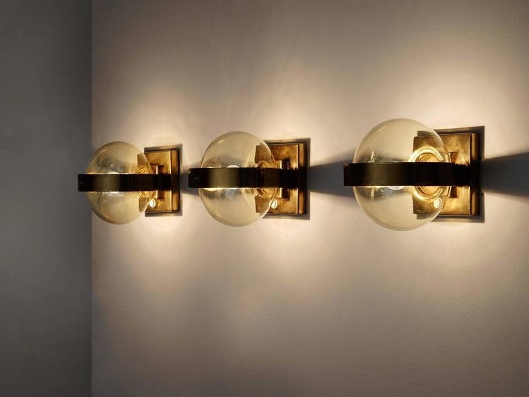 Set of 2 Wall Lights in Brass and Glass 2