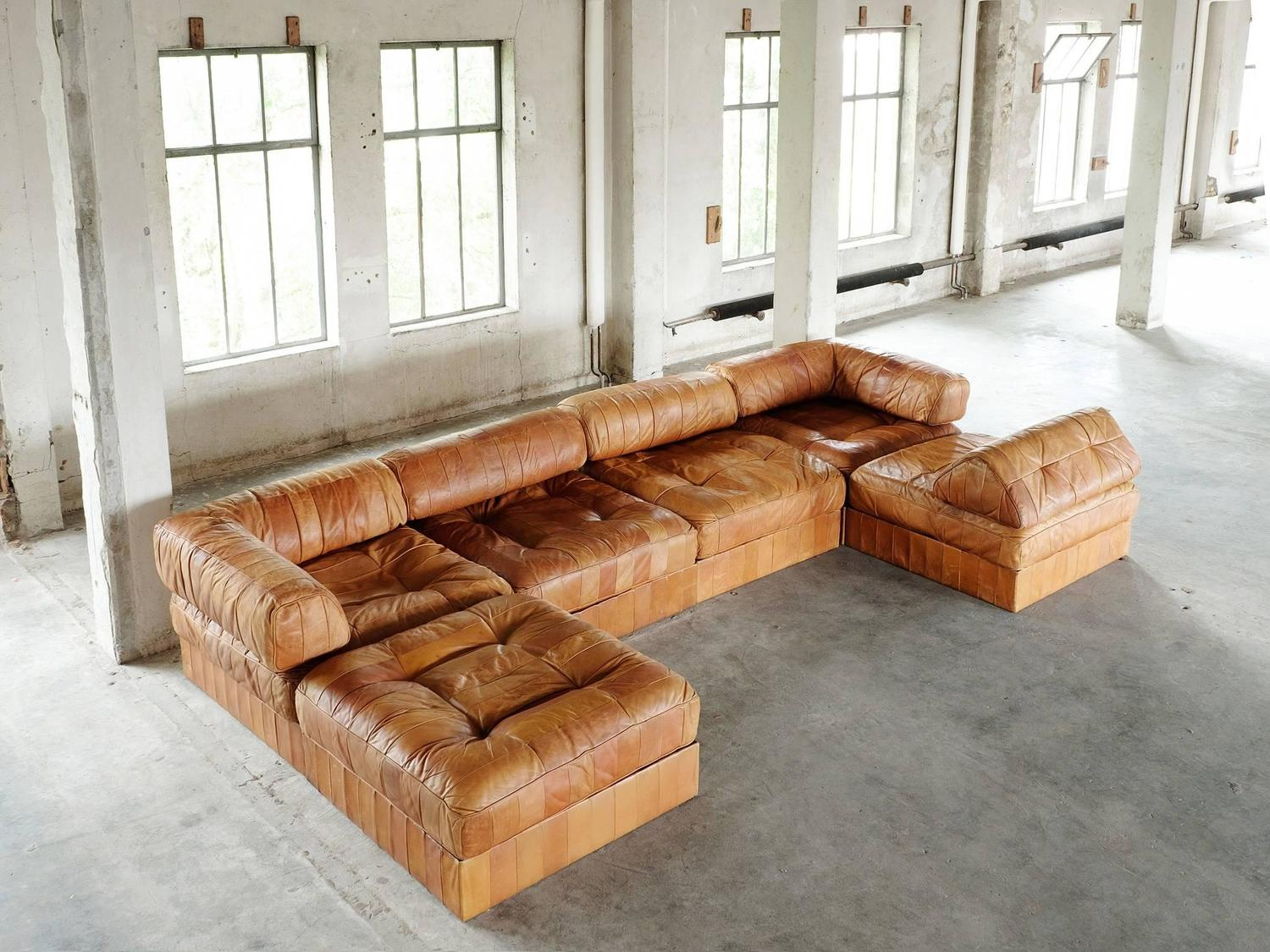 De Sede Ds88 Sectional Sofa In Cognac Leather For Sale At