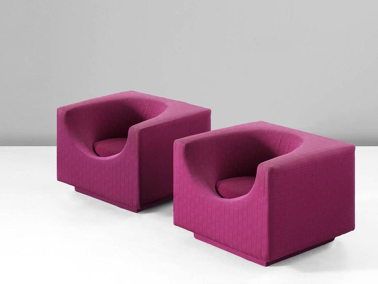 Pair of Cyclamen Cubic Easy Chairs for Saporiti 2