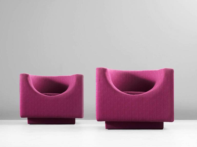 Pair of Cyclamen Cubic Easy Chairs for Saporiti 4