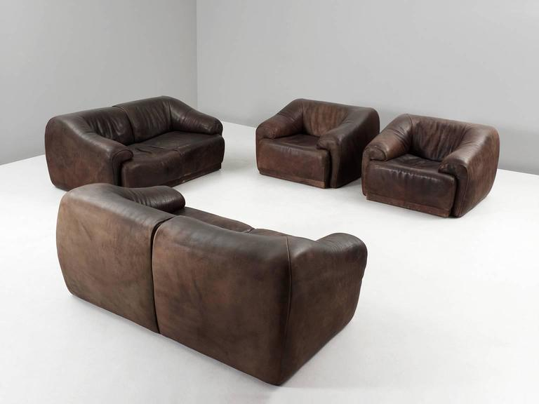 Set of Two De Sede Lounge Chairs in Dark Brown Leather 7