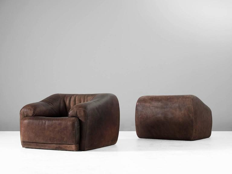 Set of Two De Sede Lounge Chairs in Dark Brown Leather 2