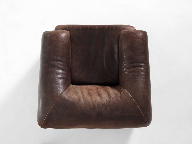 Set of Two De Sede Lounge Chairs in Dark Brown Leather 3