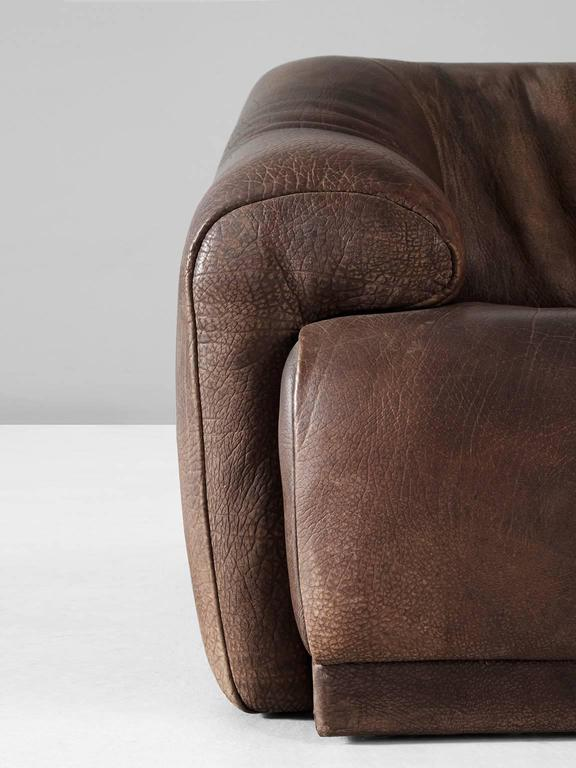 Set of Two De Sede Lounge Chairs in Dark Brown Leather 5