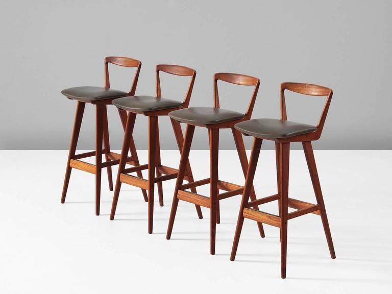 Rosengren Hansen Set Of Four Teak Bar Stools For Brande