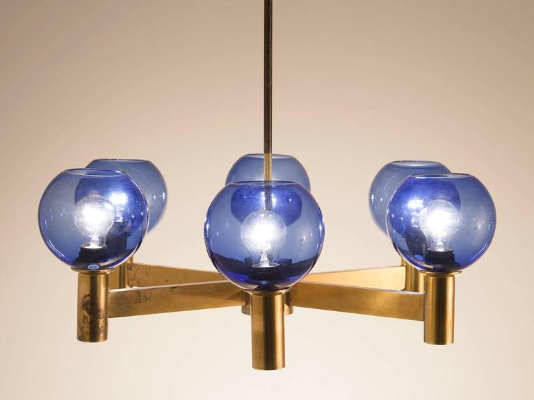 Chandelier In Glass And Brass Sweden 1960s A Patinated With