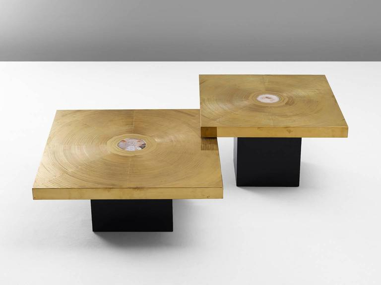 Lova Creation Set of Two Brass and Gemstone Coffee Tables 2