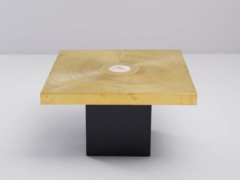 Coffee tables, in brass, gemstone and wood, Belgium 1970s