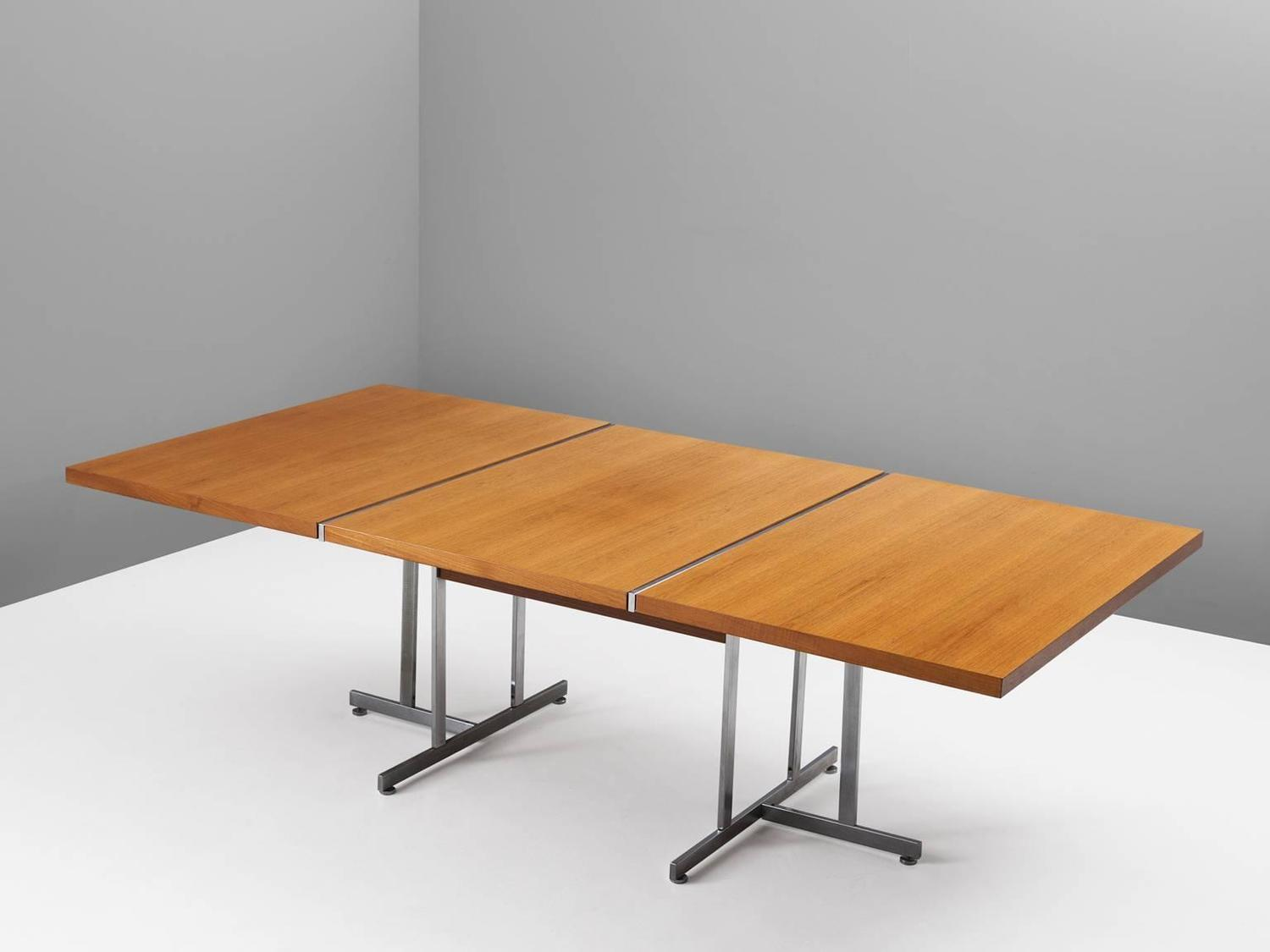 Large dining table in teak and metal for sale at 1stdibs for Most beautiful dining room tables