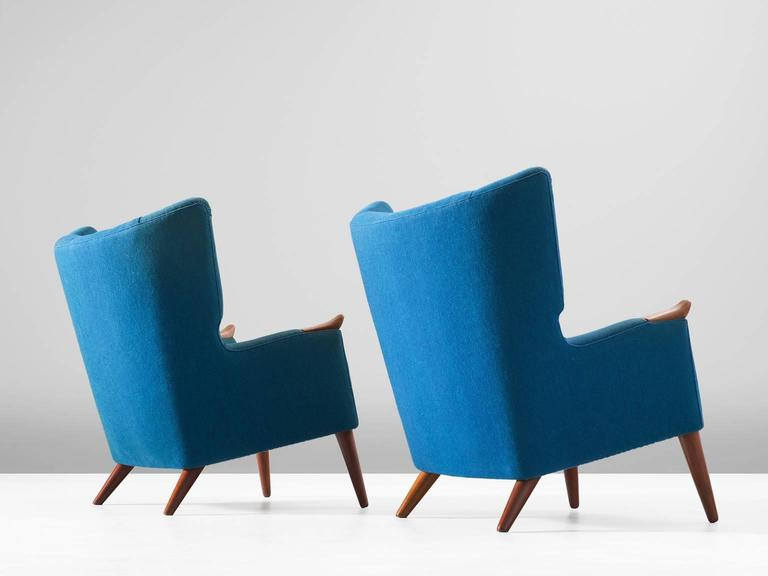 Mid-Century Modern Kurt Ostervig Pair of Blue Lounge Chairs For Sale