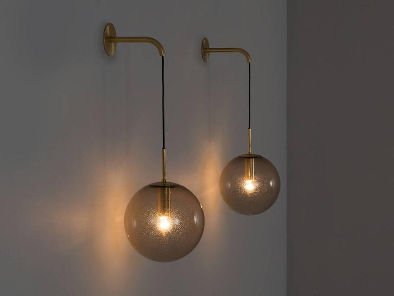 Large Glass Wall Lights : Large Set Brass and Smoked Glass Wall Lights For Sale at 1stdibs