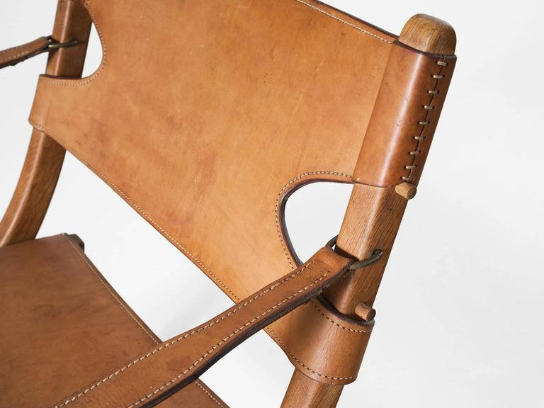 Poul Hundevad Pair Of Campaign X Chairs In Cognac