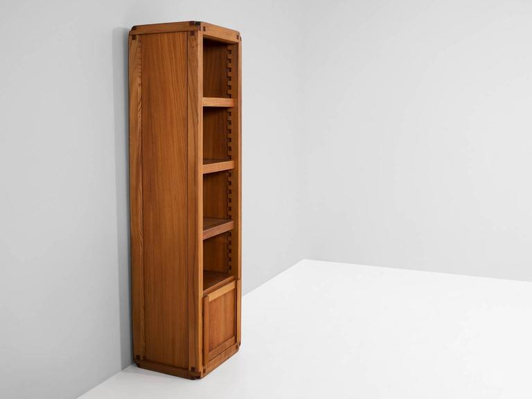 Pierre Chapo Bookcase in Solid Elm In Good Condition For Sale In Waalwijk, NL