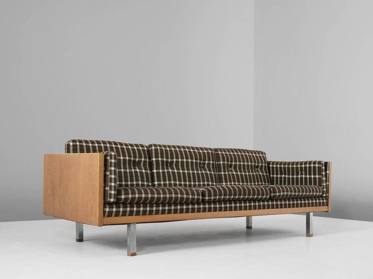 Mid Century Modern Scandinavian Three Seat Sofa In Oak And Checkered  Upholstery For Sale
