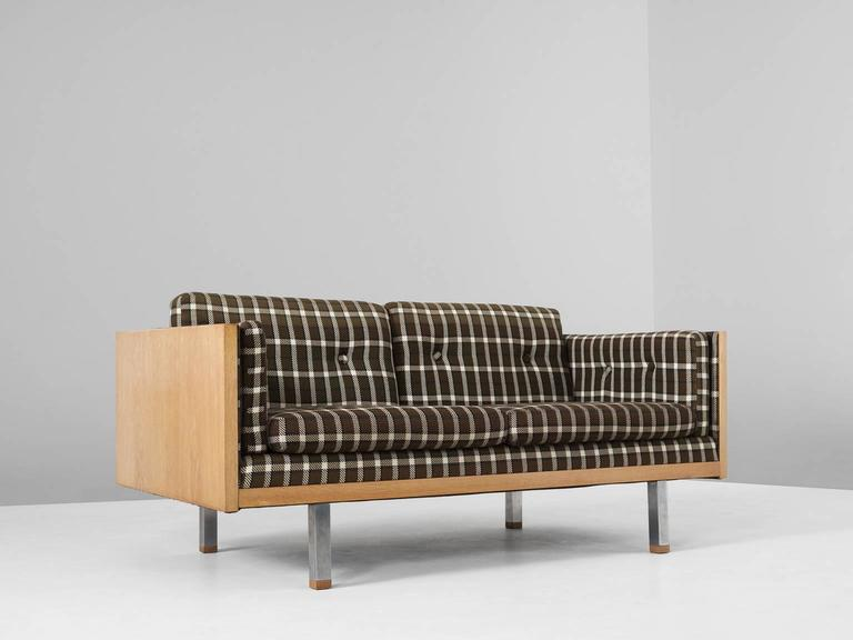 Mid Century Modern Scandinavian Two Seat Sofa In Oak And Checkered  Upholstery For Sale